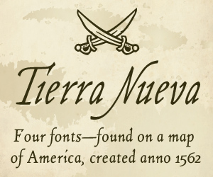 Tierra Nueva –4 Schriften, inspiriert von einer Karte von Amerika