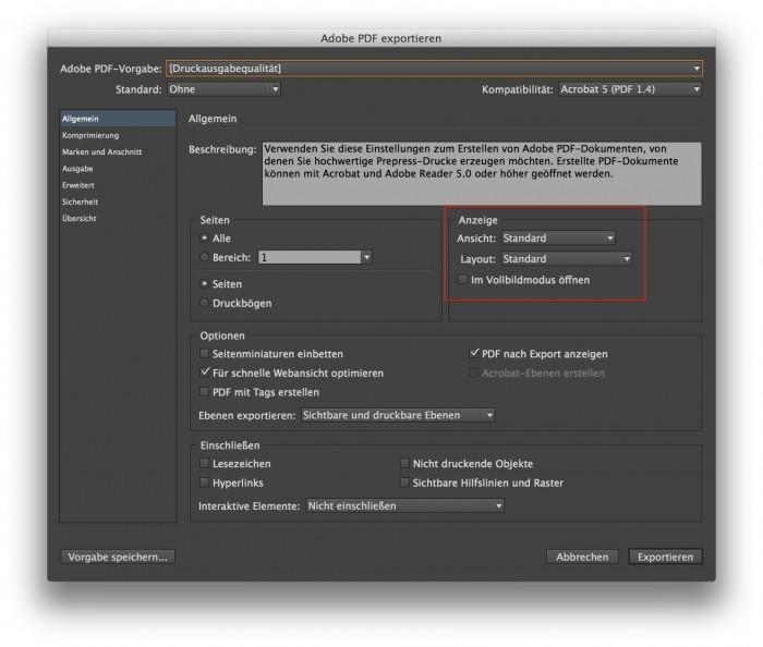 Pdf Aus Indesign Seiten Darstellungsart Gleich Festlegen Adobe