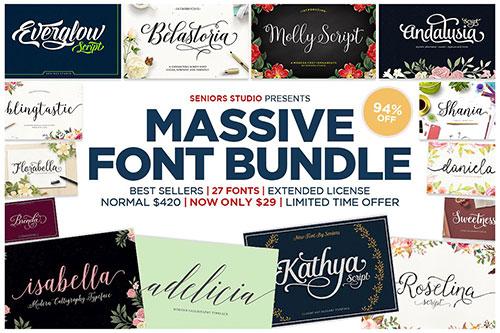 »Massive Font Bundle« mit 94% Rabatt